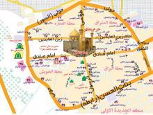 نقشه جدید شهر نجف که در آن موقعیت اماکن زیارتی، هتل ها، مراکز ستادی و درمانگاهها و ... مشخص شده است.