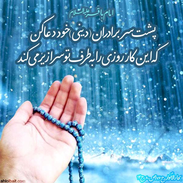 امام باقر(علیه السلام):پشت سر برادران (دینى) خود دعا کن، که این کار روزى را به طرف توسرازیر مى کند.