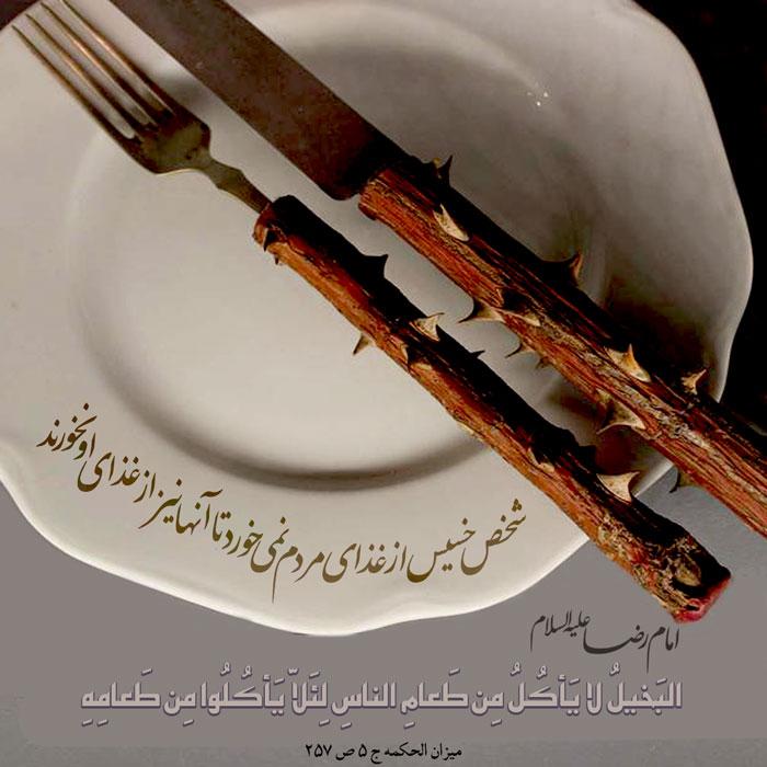 امام رضا علیه السلام فرمودند: الَبخیلُ لا یَاکُلُ مِن طَعامِ النّاسِ لِئلاّ یَأکُلُوا مِن طَعامِهِ  بخیل از غذای دیگران نمی خورد، تا از غذایش نخورند. مسند الامام الرضا علیه السلام، ج 1، ص 295