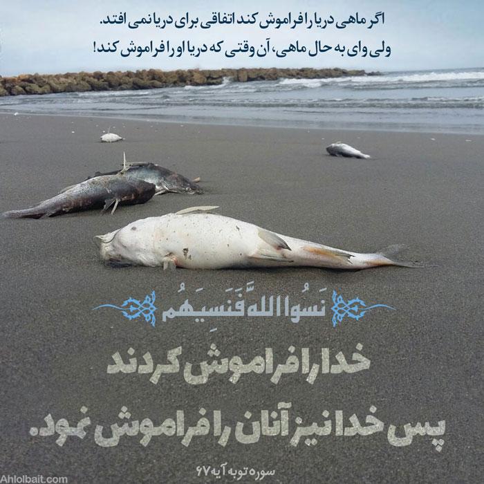 عاقبت فراموشی خدا  اگر ماهی دریا را فراموش کند اتفاقی برای دریا نمی افتد.  ولی وای به حال ماهی، آن وقتی که دریا او را فراموش کند! نَسُوا اللَّهَ فَنَسِيَهُم  خدا را فراموش کردند، پس خدا نیز آنان را فراموش نمود.   (سوره توبه آیه 67)