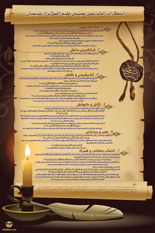 اینفوگرافی انتظارات امام حسن مجتبی علیه السلام از شیعیان
